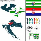 Vector Map Of Zagreb County And Location On Croatian Map poster