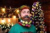 Happy Santa Man With Decorated Beard. Bearded Santa Man With Decorated Beard. Merry Christmas And Ha poster