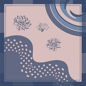 Abstract Scarf Or Napkin Floral Print. Flower Cute Background For Scarf Print, Fabric, Covers, Scrap poster