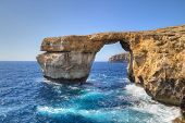 Azure Window, famous stone arch on Gozo island, Malta.