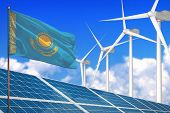 Kazakhstan Solar And Wind Energy, Renewable Energy Concept With Windmills - Renewable Energy Against poster