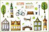 Cute Old Town Houses, Town Hall, Bell Tower, Bridge, Cartoon Trees, Retro Bike, Basset Hound Dog, Be poster