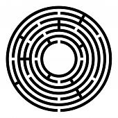 Small Black Circular Maze. Radial Labyrinth. Find A Route To The Centre. Print Out And Follow The Pa poster