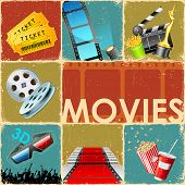 illustration of collage background of movie with different cinema object