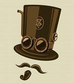 Steampunk style top hat with goggles and other retro elements. Place the top hat the mustache and th