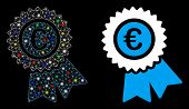Glossy Mesh Euro Warranty Icon With Glitter Effect. Abstract Illuminated Model Of Euro Warranty. Shi poster