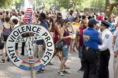 NEW YORK - JUNE 22: Hundreds of supporters peacefully gather in Washington Square Park on the 8th An