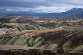 Landmannalaugar Valley. Iceland. Colorful Mountains On The Laugavegur Hiking Trail. The Combination  poster