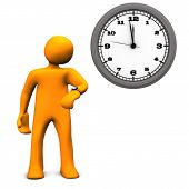 image of latency  - Orange cartoon character with a wall clock on the white background - JPG