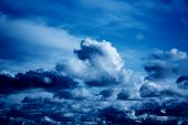 Cumulus White And Gray Clouds On A Blue Sky. Color Of The Year 2020, Classic Blue. poster