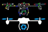 Glowing Mesh Shutter Spy Airdrone Icon With Glow Effect. Abstract Illuminated Model Of Shutter Spy A poster