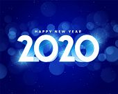 Blue Shiny 2020 Happy New Year Background Illustration Design poster