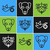 Set Line Hunt On Duck With Crosshairs, Hunt On Moose With Crosshairs And Hunting Dog Icon. Vector poster