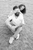 Simple Happiness. Couple In Love Relaxing On Green Lawn. Playful Girlfriend And Boyfriend Dating. Co poster