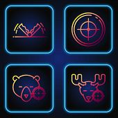 Set Line Hunt On Moose With Crosshairs, Hunt On Bear With Crosshairs, Trap Hunting And Target Sport  poster