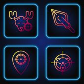 Set Line Hunt On Bear With Crosshairs, Hunt Place, Hunt On Moose With Crosshairs And Hipster Arrow T poster