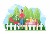 Bbq In The Courtyard Flat Vector Illustration. Barbecue On Backyard. Grill Party. Roasting Steak Out poster