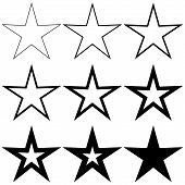 Set Pentagonal Stars With Different Stroke Thickness, Vector Logo Icon Thin And Thick Star, Symbol O poster
