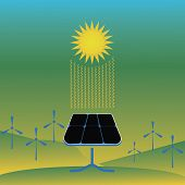 Renewable Energy Like Hydro, Solar, Geothermal And Wind Power Generation Facilities poster