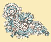 picture of indium  - Hand draw line art ornate flower design - JPG