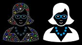 Bright Mesh Teacher Lady Icon With Sparkle Effect. Abstract Illuminated Model Of Teacher Lady. Shiny poster