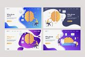 Set Of Workers Analyzing Efficiency. Flat Vector Illustrations Of Brains, Devices, Infographics. Eff poster