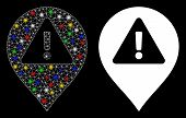 Glossy Mesh Warning Map Marker Icon With Glitter Effect. Abstract Illuminated Model Of Warning Map M poster