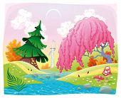 Paisaje de fantasía en la orilla del río. Ilustración del vector.