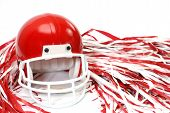 stock photo of pom-pom  - Red football helmet and pom poms isolated on white background - JPG