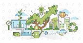 Green Business And Sustainable Energy Outline Concept Vector Illustration. Alternative Renewable Sol poster