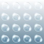 Basic set of transparent glass buttons