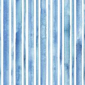 Watercolor Blue Stripes On White Background. Blue And White Striped Seamless Pattern. Watercolour Ha poster
