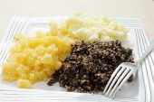 stock photo of haggis  - A traditional Scottish haggis meal - JPG