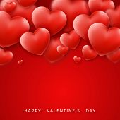 Valentines Day Background With Red Hearts On Top And Text. Holiday Lettering Greeting Card Illustrat poster