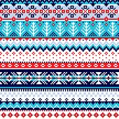 Winter Traditional Fair Isle Knitwear Style Vector Seamless Pattern, Repetitive Design Shetland Knit poster