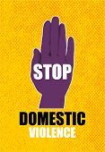Domestic Violence Pop Art Banner On Yellow Background. Abstract Violence Domestic Halftone Vector Il poster