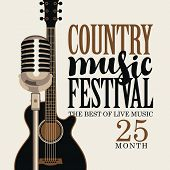 Vector Poster For Festival Of Live Country Music With Electric Guitar And Microphone On A Light Back poster