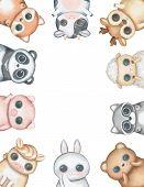 Oval Frame Composition With Kawaii Cartoon Cute Bear, Fox, Rabbit, Panda, Cow, Raccoon, Pig, Deer, S poster