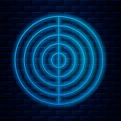 Glowing Neon Line Earth Structure Icon Isolated On Brick Wall Background. Geophysics Concept With Ea poster