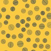 Blue Line Earth Structure Icon Isolated Seamless Pattern On Yellow Background. Geophysics Concept Wi poster
