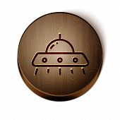 Brown Line Ufo Flying Spaceship Icon Isolated On White Background. Flying Saucer. Alien Space Ship.  poster