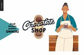 Chocolate Shop -small Business Owners Graphics -owner With A Cup. Modern Flat Vector Concept Illustr poster