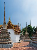 Panoramic View Of Classical Thai Architecture Of Wat Pho Public Temple, Bangkok, Thailand. This Wat  poster