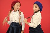 Best Friends. Little Girls With Braids Ready For School. School Fashion Concept. Fancy Style. School poster