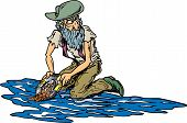 picture of gold nugget  - Old man along a river panning for gold - JPG