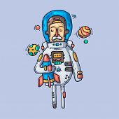 Astronaut In Outer Space. Creative Vector Illustration. Cartoon Art For Web And Print. poster