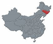 Map Of China, Jilin Highlighted