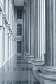 stock photo of supreme court  - Law and Order Pillars in the Supreme Court during the morning - JPG