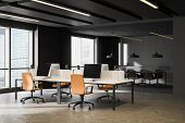 Dark Gray Open Space Office And Meeting Room poster