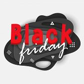 Black Friday Sale Banner. Vector Illustration Card With Background With Deep Black Color Paper Cut S poster